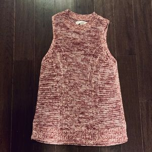 LOFT Red Knit Sleeveless Sweater Top